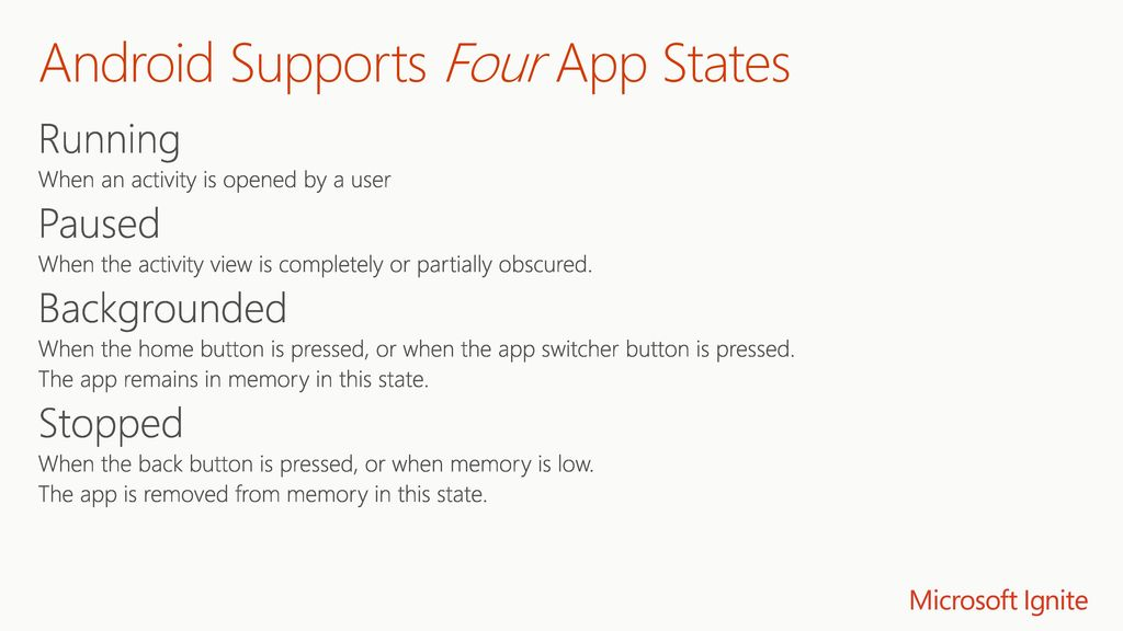 Android Supports Four App States
