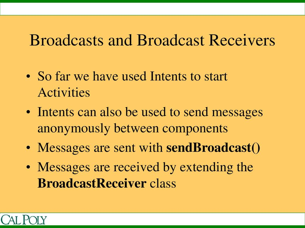 Intents and Broadcast Receivers - ppt download