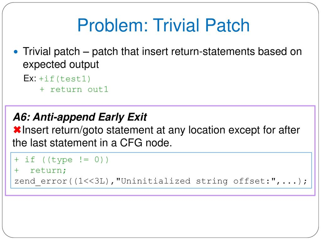 Anti-patterns in Search-based Program Repair - ppt download