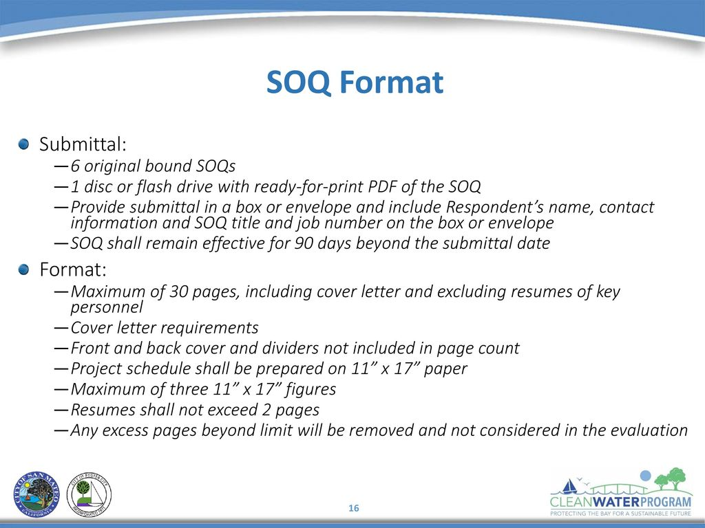 SOQ Format Submittal 6 Original Bound SOQs