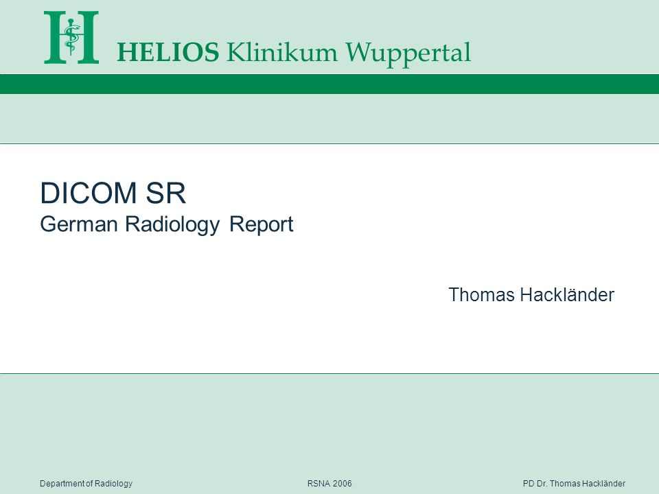 DICOM SR German Radiology Report