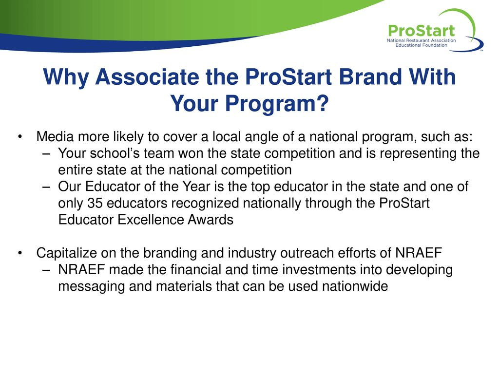 Why Associate the ProStart Brand With Your Program