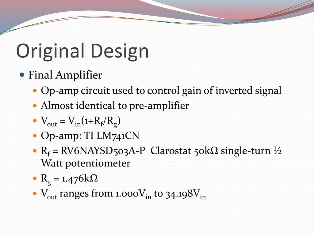 Aaron Gipp Victor Salov Udara Cabraal Ppt Download Opamp And Level Meter Circuits Are Incorporated Into A Mixing Circuit 10 Original Design Final Amplifier