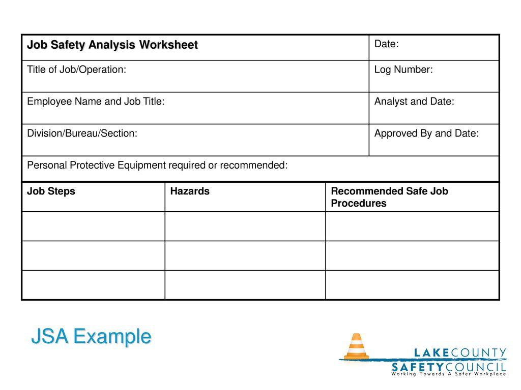 Worksheets Job Hazard Analysis Worksheet the job hazard analysis ppt download jsa example safety worksheet date