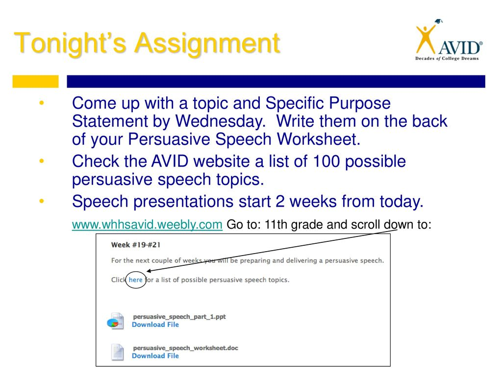 Thesis Statements For Persuasive Essays Tonights Assignment Come Up With A Topic And Specific Purpose Statement By  Wednesday Write Them English Essay Topics For College Students also Essay Proposal Example Persuasive Speech Day  What Elements Make Up An Effective  Essay Proposal Template
