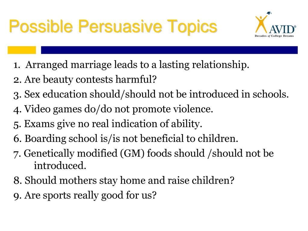 possible persuasive topics