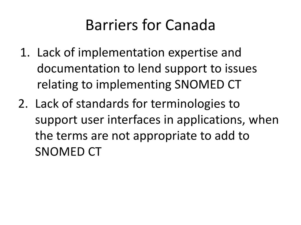 Barriers to Implementing SNOMED CT - ppt download