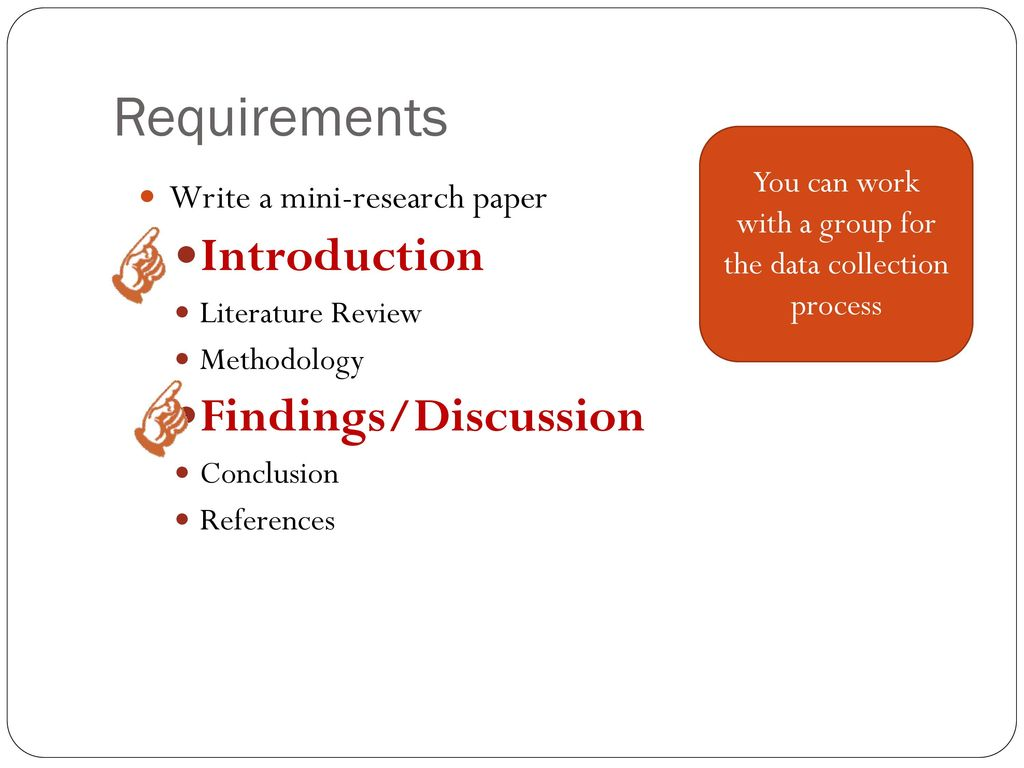 mini research papers Example for mini research chapter i introduction   the last step is choosing one class that uses traditional assessment by using roll of papers randomly 3 2 test.