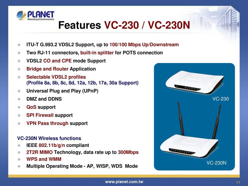 Broadband Communication Solution Ppt Download Vdsl Wiring Diagram Features Vc 230 230n Itu T G Vdsl2 Support Up
