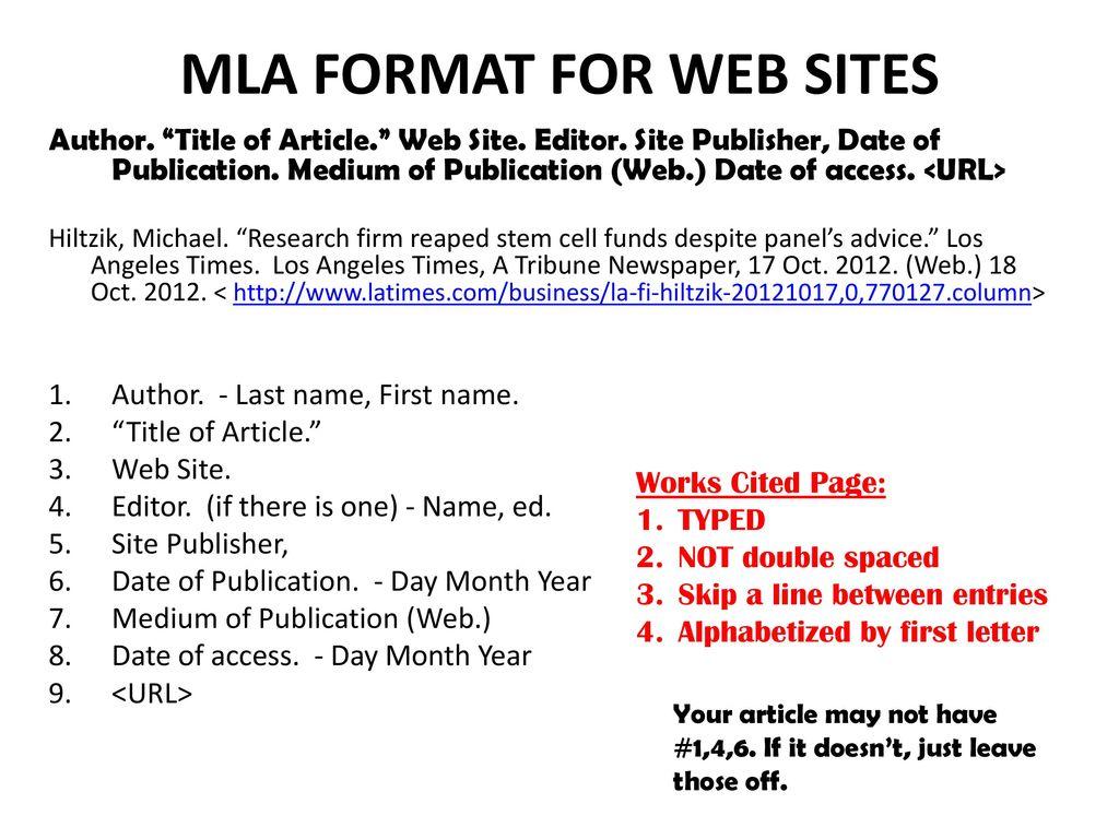 mla format work cited website