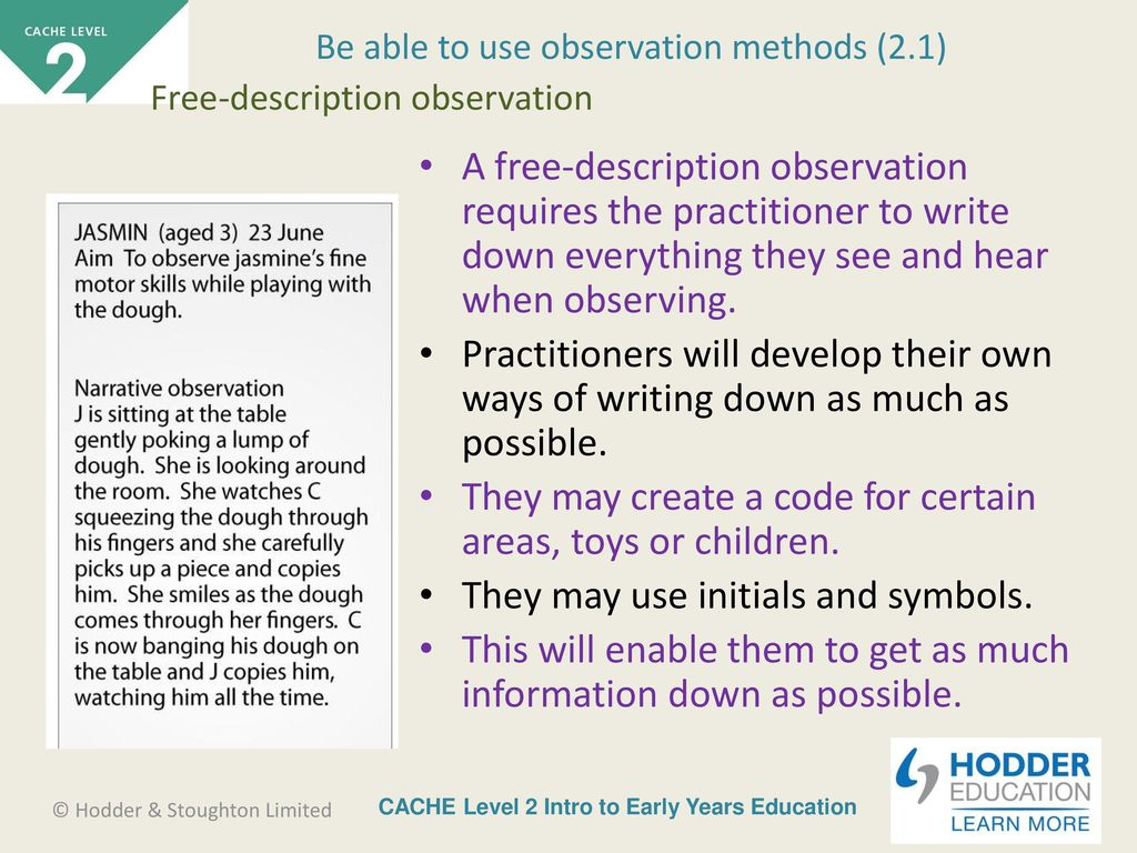what is a free description observation