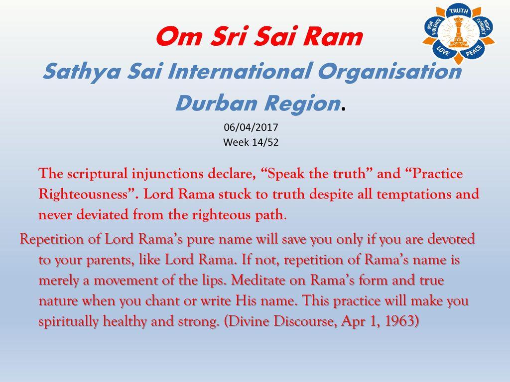 Sathya Sai International Organisation Durban Region  - ppt