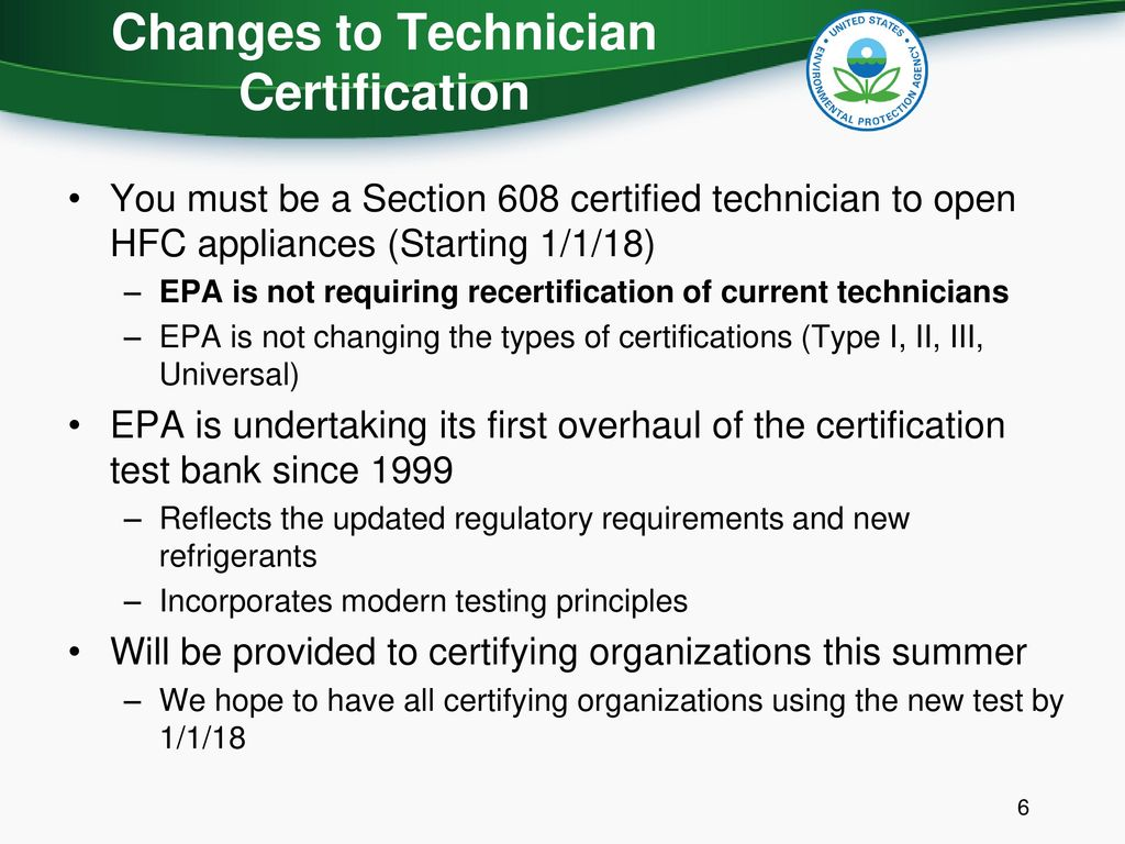 Updates To The Section 608 Refrigerant Management Program For Hvac