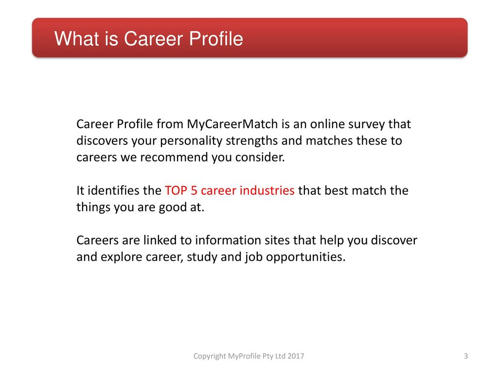 Discover Career Profile - ppt download