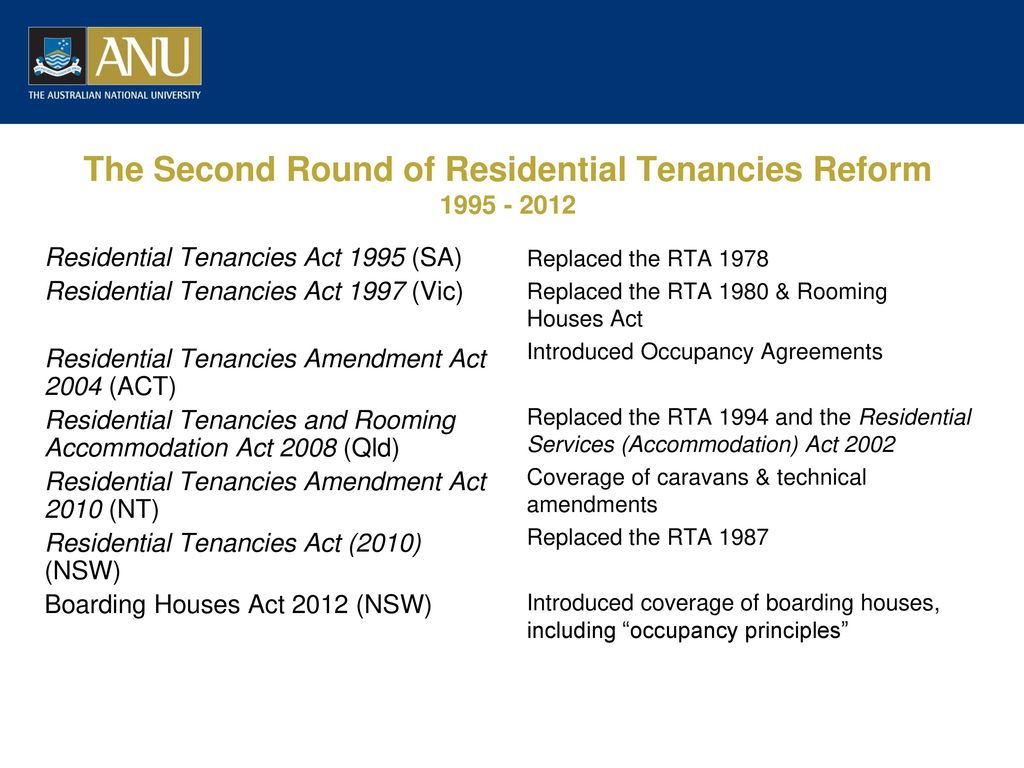 Occupancy Principles In Act Residential Tenancies Law Ppt Download