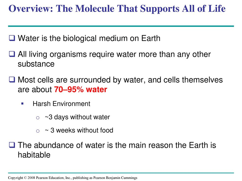The biological role of water. Is life possible without water