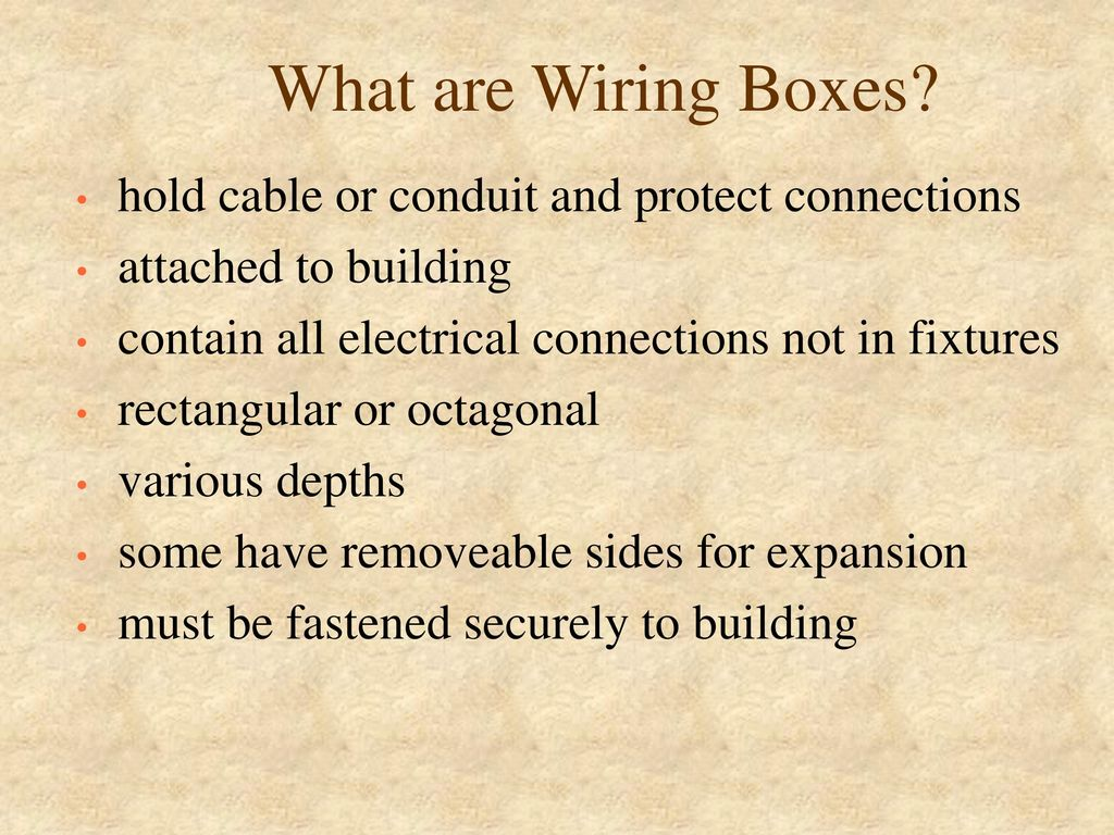 Installing Branch Circuits Ppt Download Circuit Wiring What Are Boxes Hold Cable Or Conduit And Protect Connections