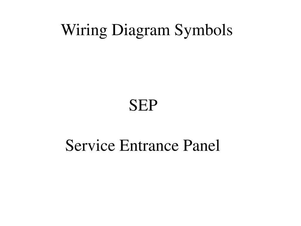 SEP Service Entrance Panel. Wiring Diagram Symbols