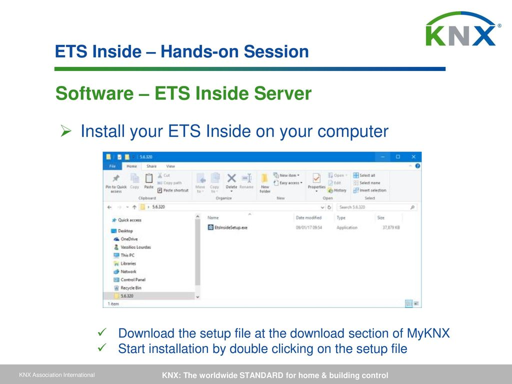 Configuration of the domotic system using the ets software.