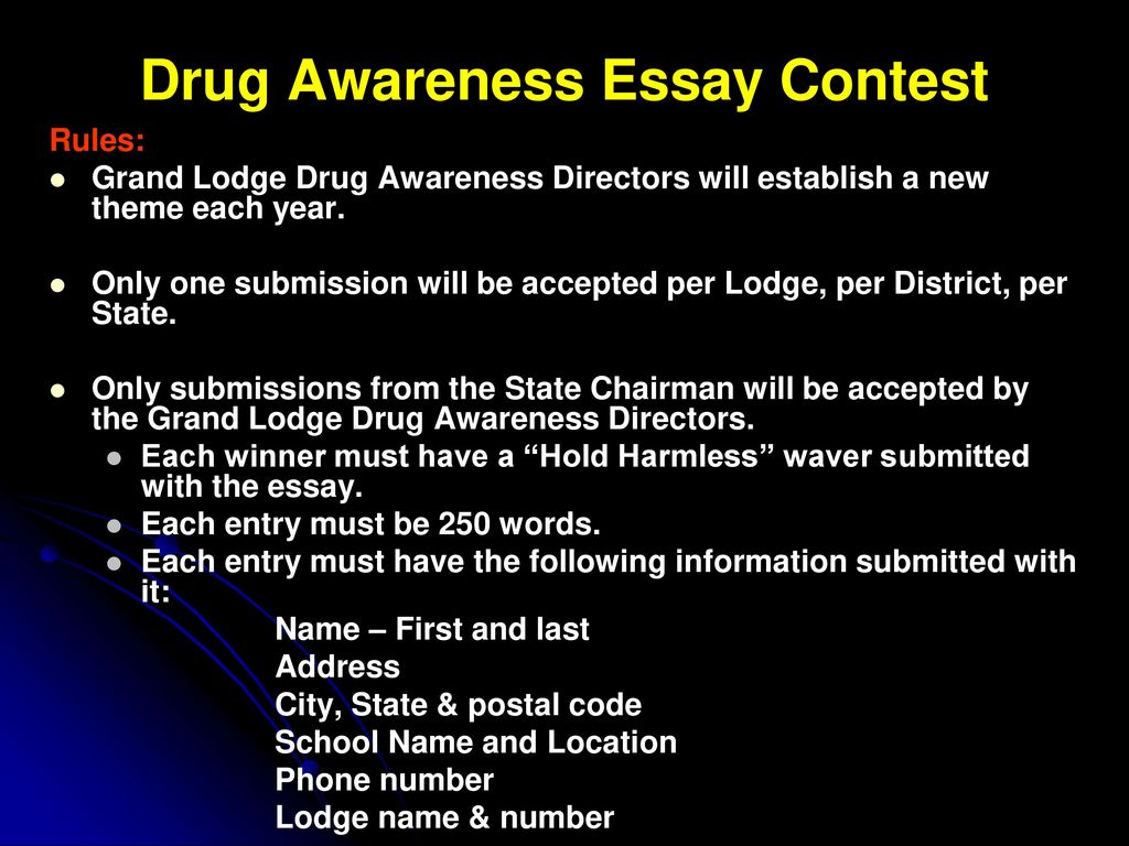 General English Essays Drug Awareness Essay Contest High School Essay Examples also Thesis Statement For Comparison Essay The Benevolent And Protective Order Of Elks Drug Awareness Program  Examples Of A Thesis Statement In An Essay