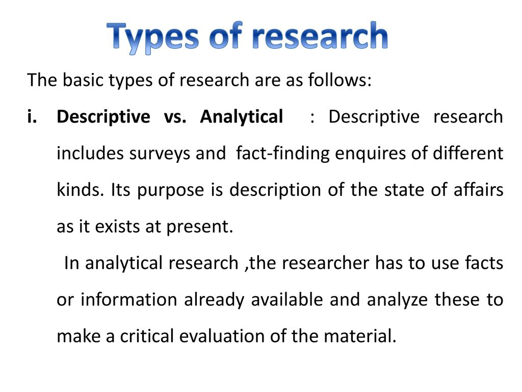 analytical research vs descriptive research
