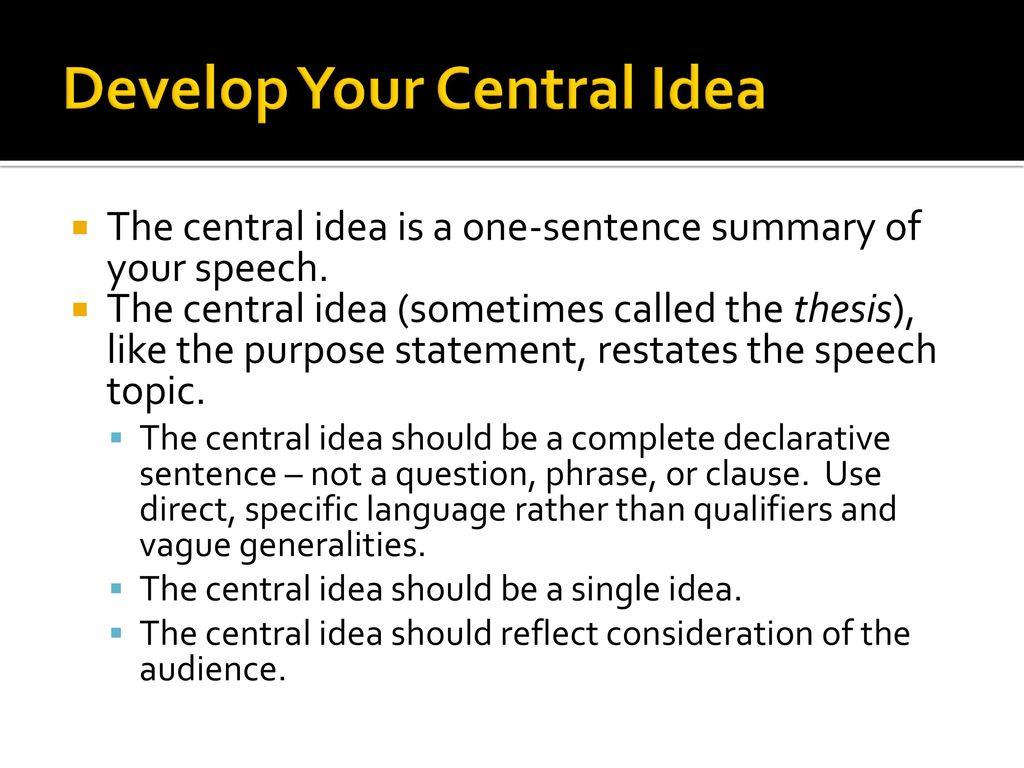 single idea speech topic