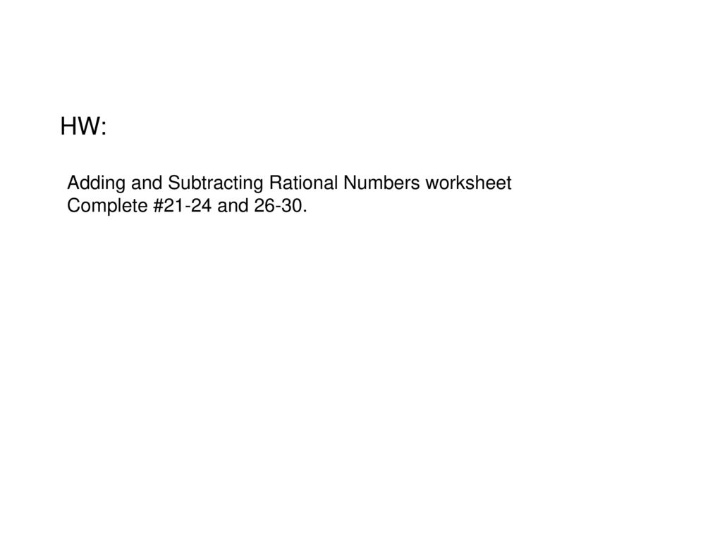 hw adding and subtracting rational numbers worksheet - Adding And Subtracting Rational Numbers Worksheet
