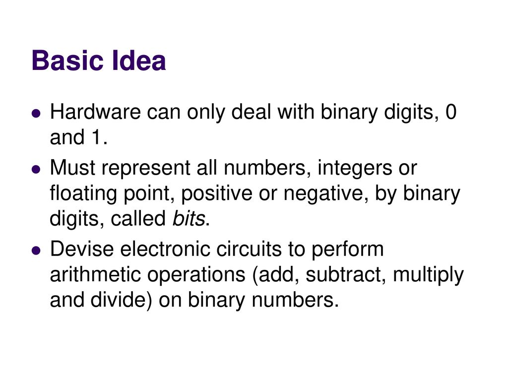 Adding Binary Numbers Addition And Subtraction Ppt Download Basic Idea Hardware Can Only Deal With Digits 0 1