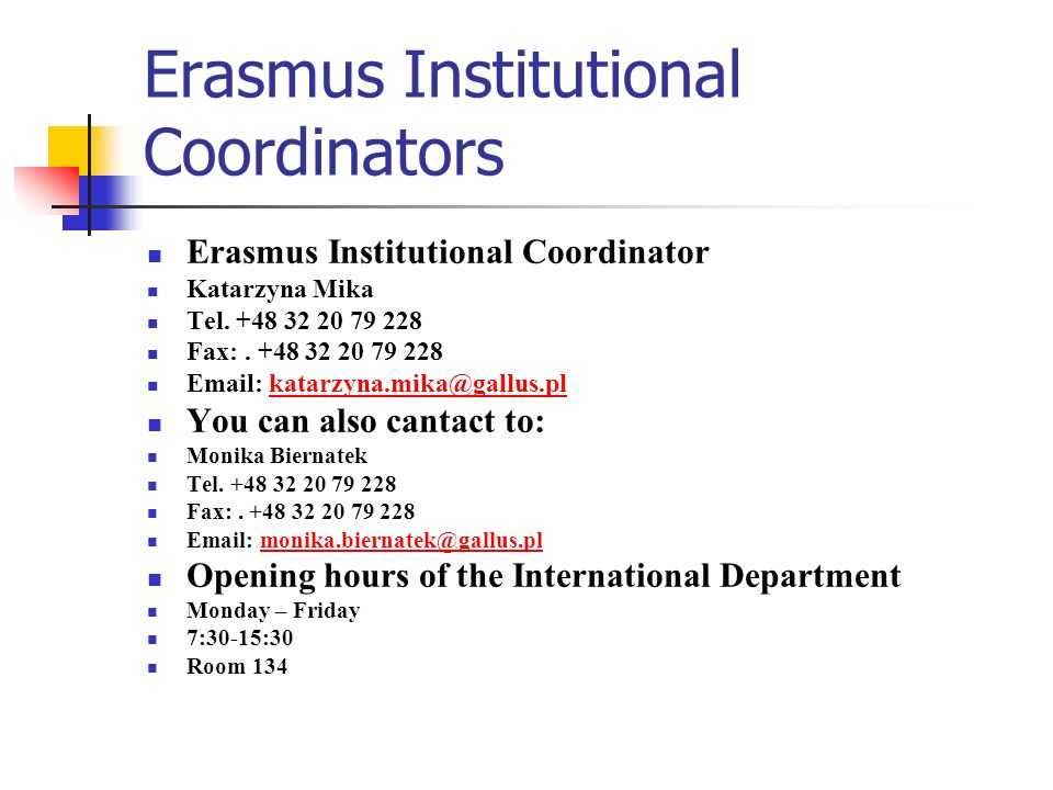 Erasmus Institutional Coordinators
