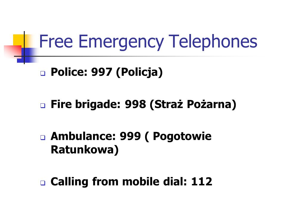 Free Emergency Telephones