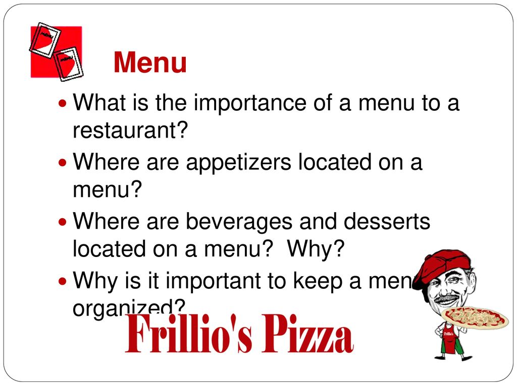Menu What is the importance of a menu to a restaurant