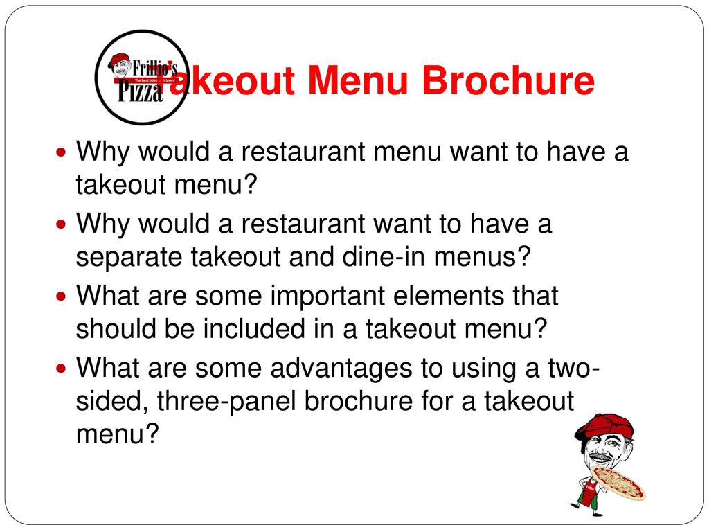 Takeout Menu Brochure Why would a restaurant menu want to have a takeout menu
