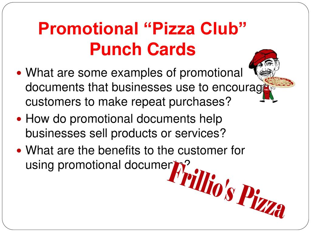 Promotional Pizza Club Punch Cards