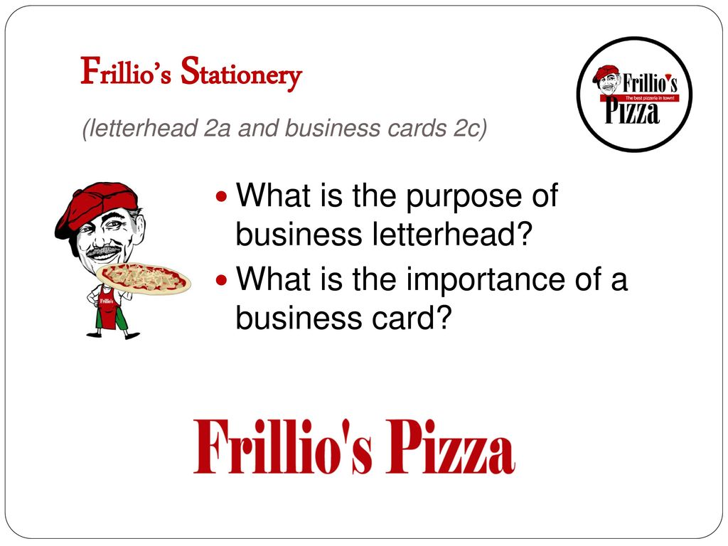 Frillio's Stationery (letterhead 2a and business cards 2c)