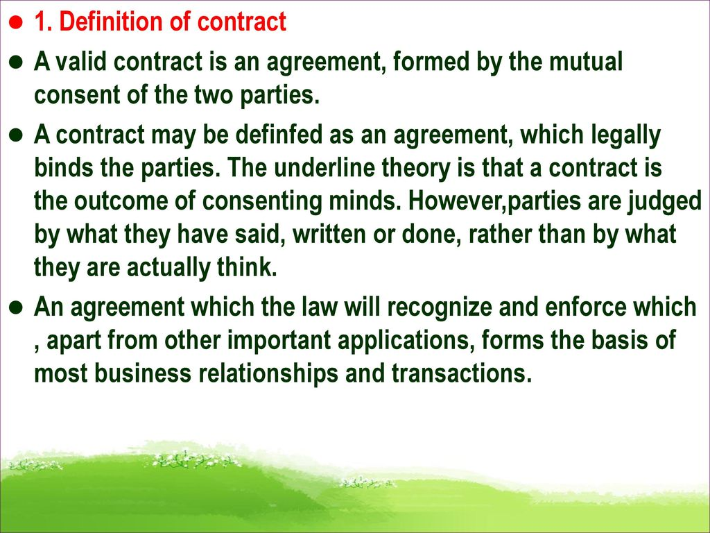 Chapter 1 The Nature Of A Contract Overview Ppt Download