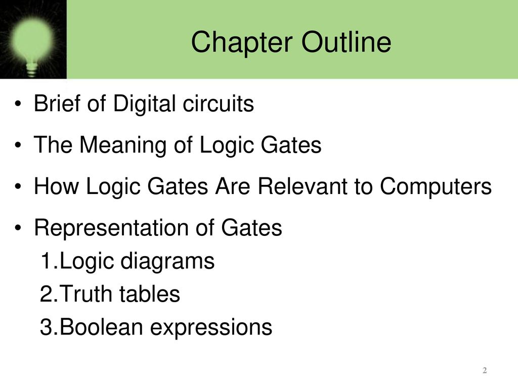 Basics Of Logic Gates Part 1 Ppt Download Circuit Diagram Gate On 18 Digital Basic Chapter Outline Brief Circuits The Meaning
