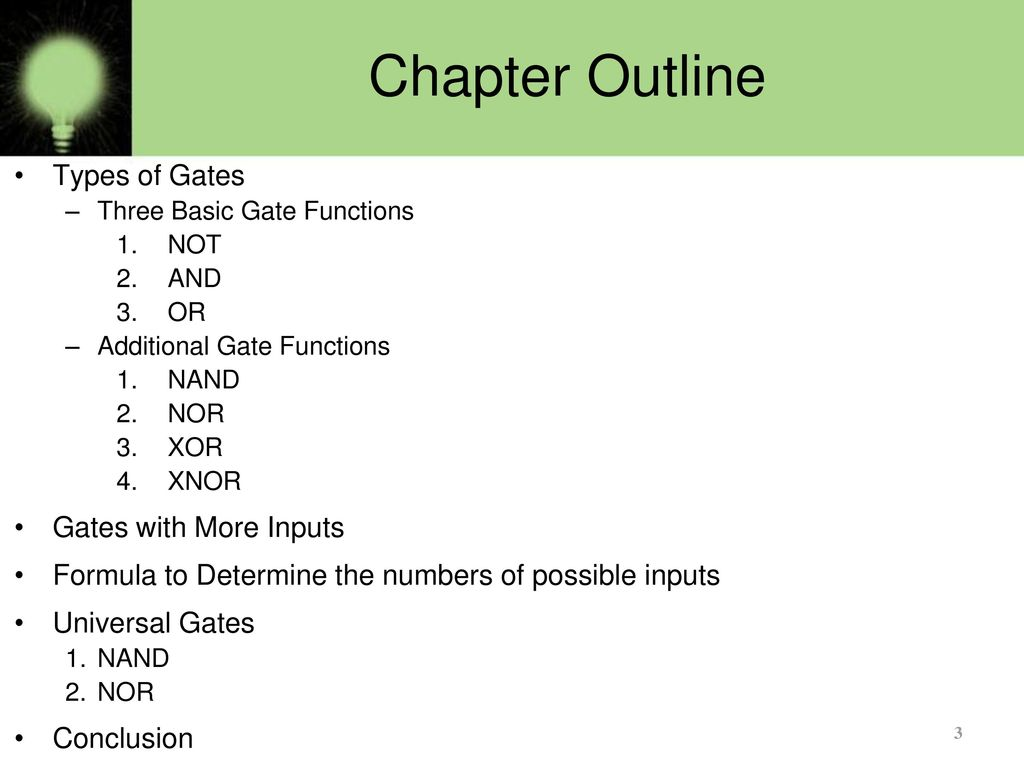 Basics Of Logic Gates Part 1 Ppt Download 2 Way Switch Gate Chapter Outline Types With More Inputs