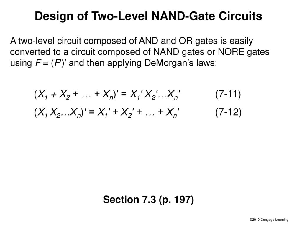 Slides For Chapter 7 Multi Level Gate Circuits Nand And Nor Gates Design Of Two