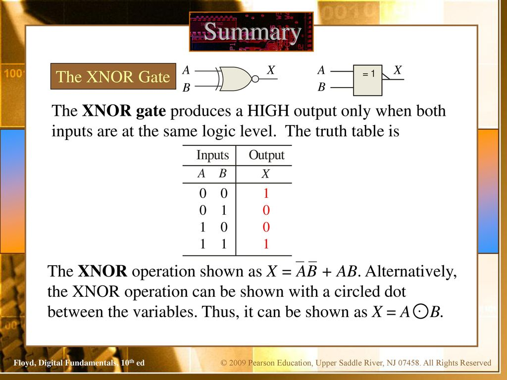 Digital Fundamentals Floyd Chapter 3 Tenth Edition Ppt Download Logic Gate Diagram Negative Dot Junction Or Exor Summary A X The Xnor B