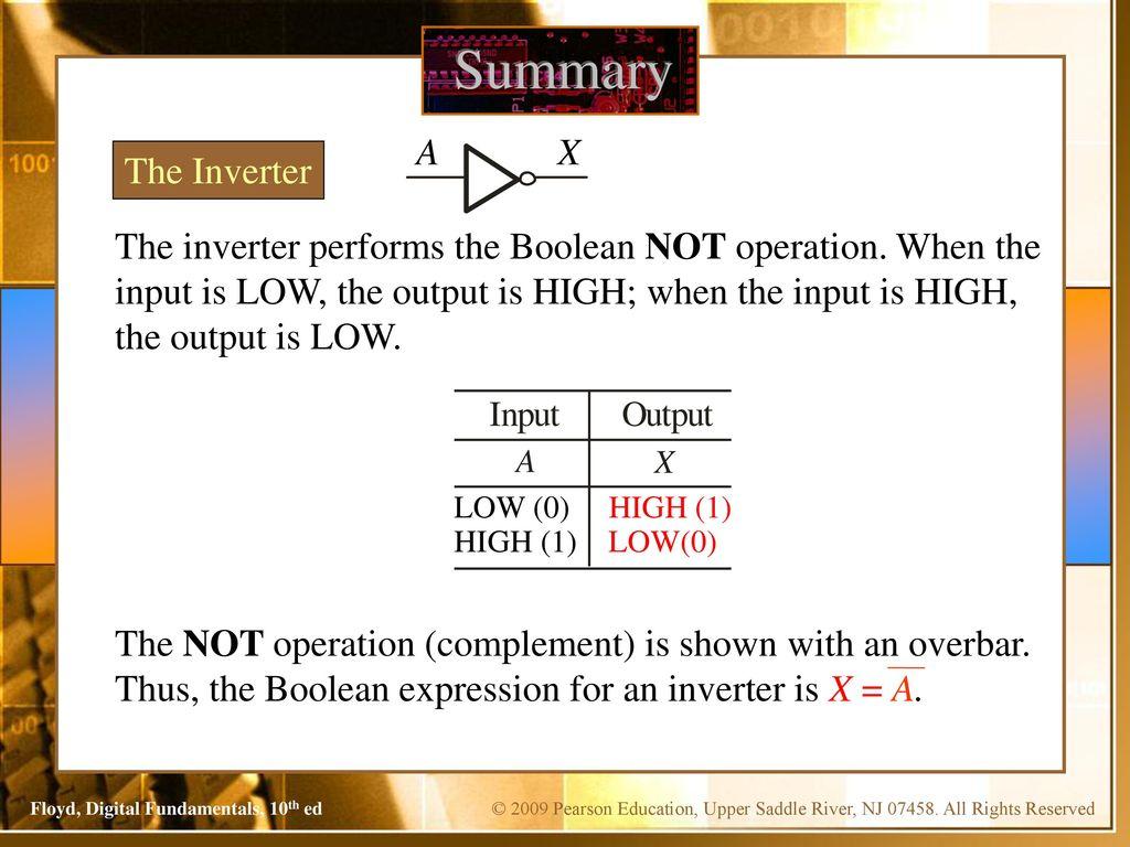 Digital Fundamentals Floyd Chapter 3 Tenth Edition. 2 Summary ...