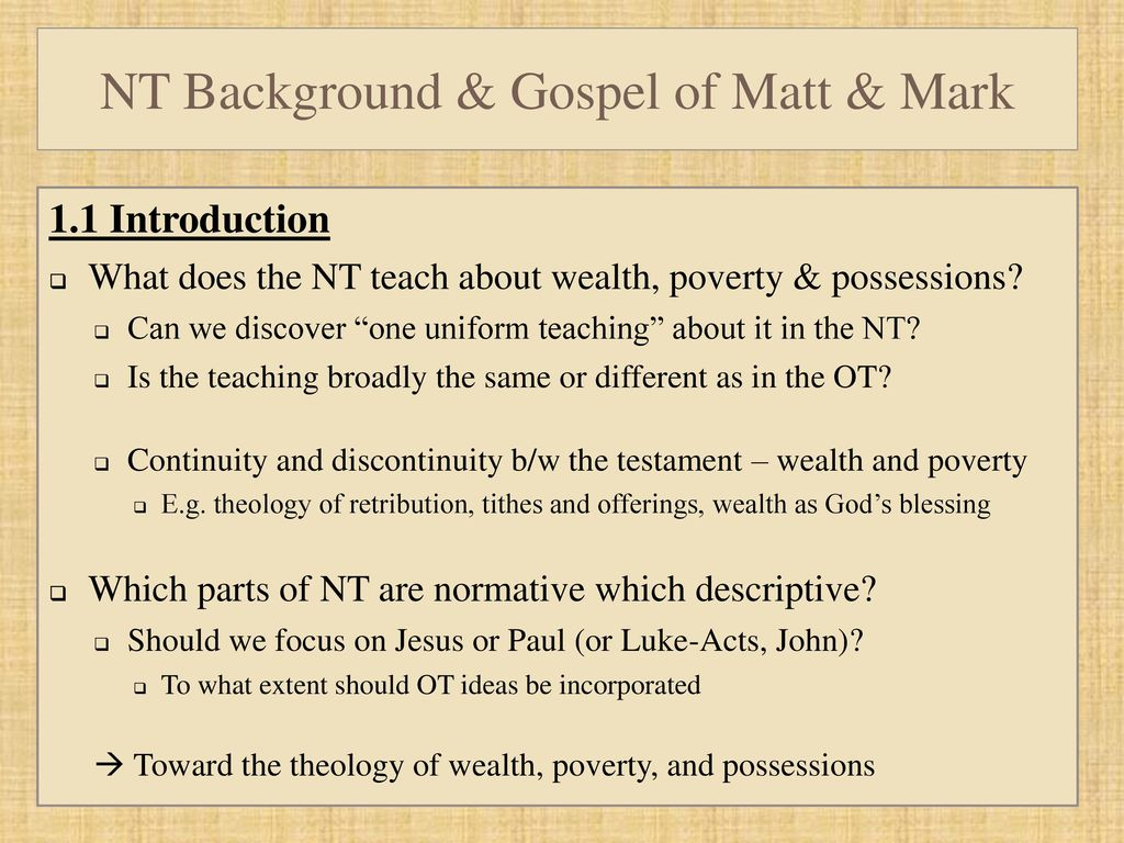NTS 507 wealth and poverty in the bible - ppt download