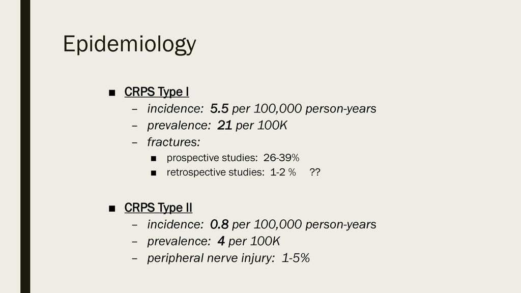 Epidemiology of Complex Regional Pain Syndrome: A ...