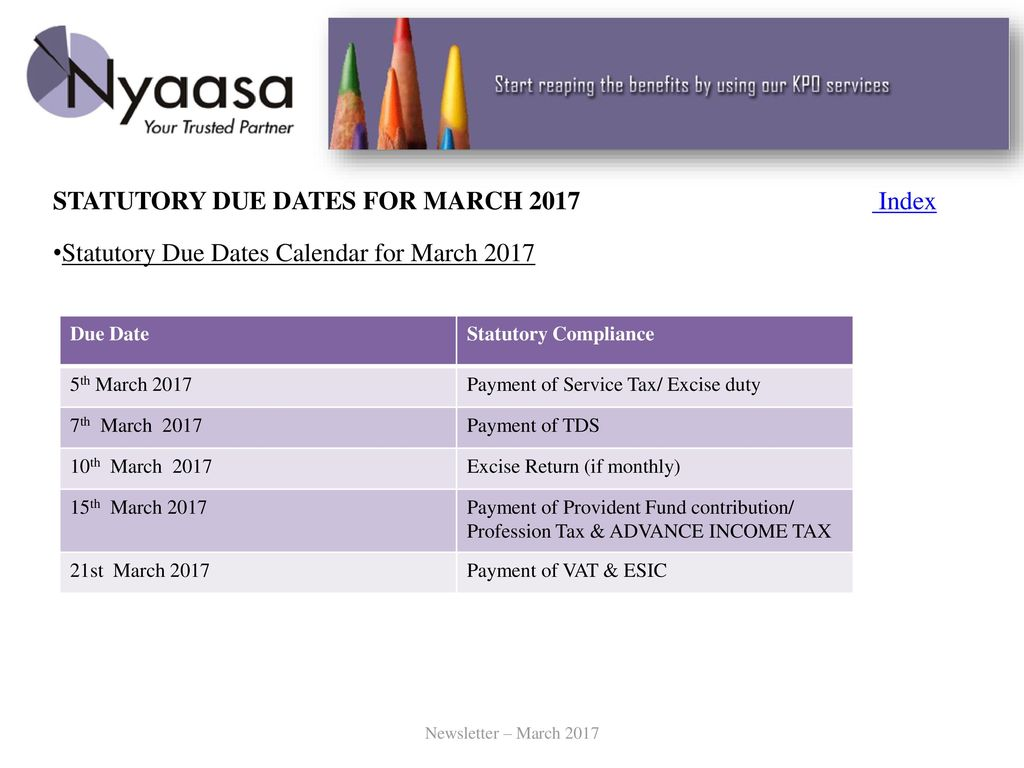 STATUTORY DUE DATES FOR MARCH 2017 Index