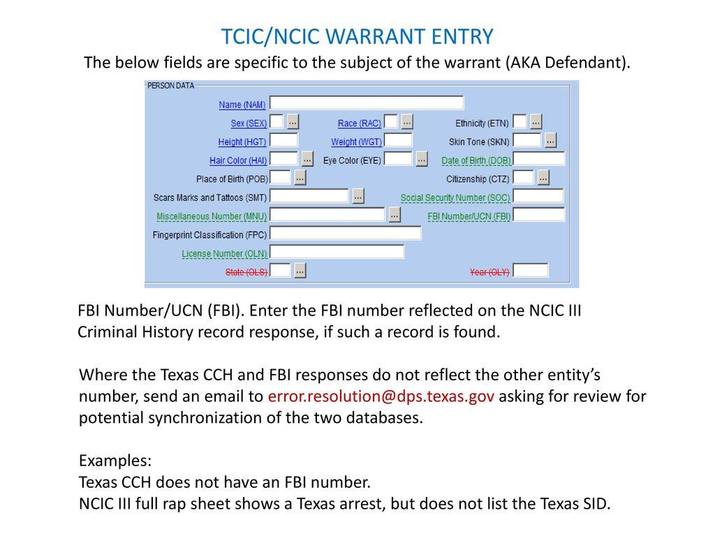 ncic tcic warrant entry ppt download rh slideplayer com 2013 CVO Breakout NCIC Code Tables