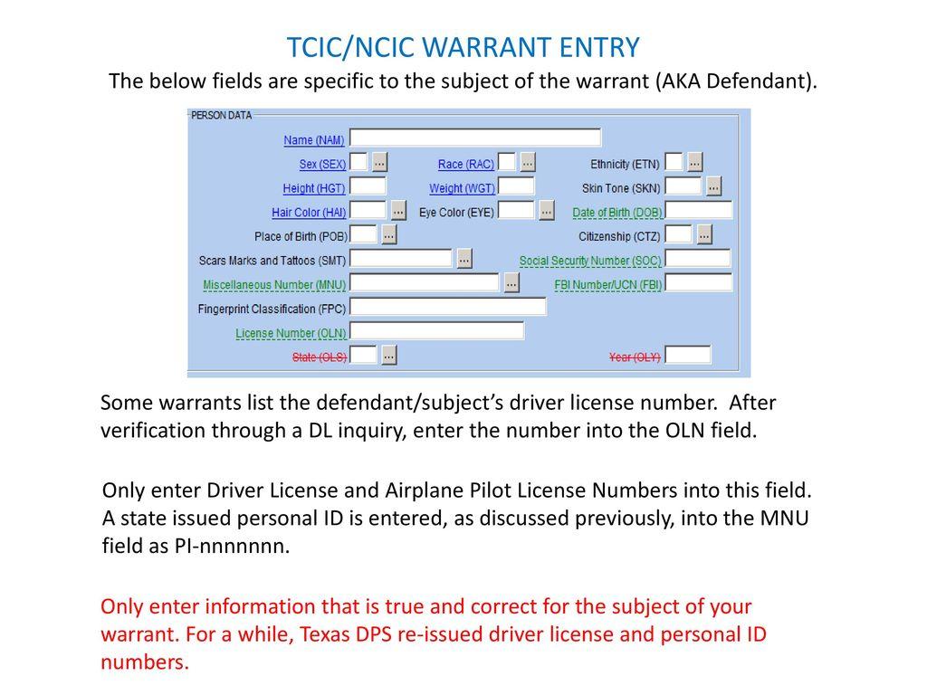 ncic tcic warrant entry ppt download rh slideplayer com NCIC Code List 2013 NCIC Vehicle Model Codes Spreadsheet