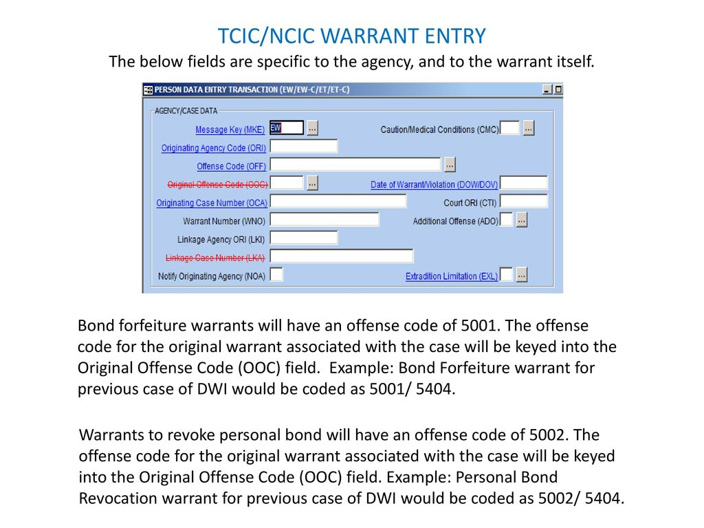 ncic tcic warrant entry ppt download rh slideplayer com NCIC Codes for Vehicles 2013 CVO Breakout