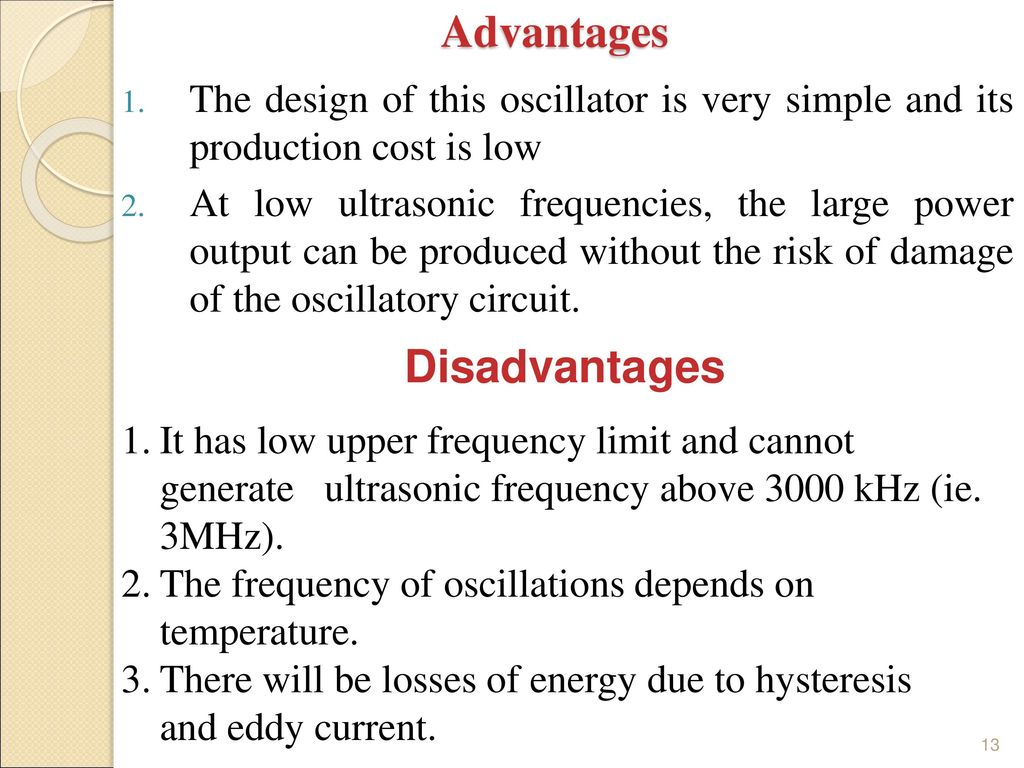 Unit Vi Ultrasonic Waves Ppt Download Oscillatory Circuit For An Cleaning Device With Feedback 13 Advantages Disadvantages