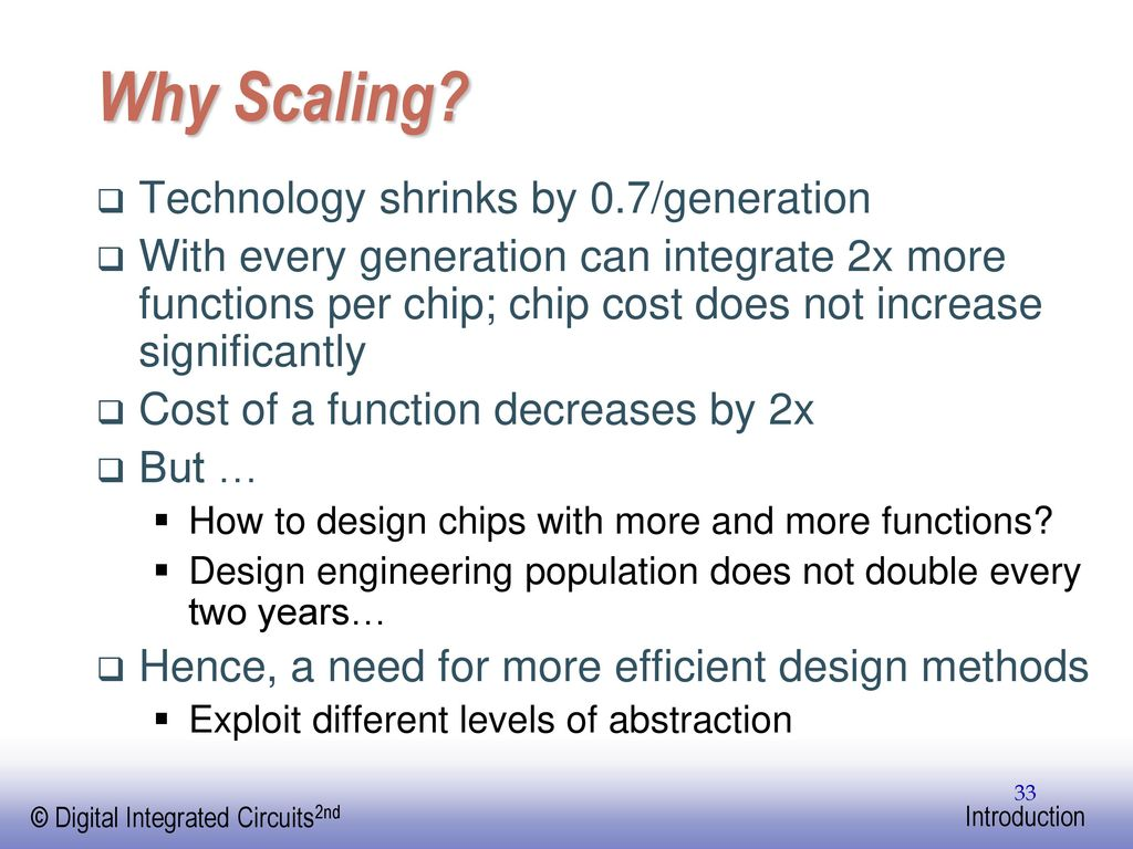 Analog And Digital Integrated Circuits 2009 June Engineering A Design Perspective Ppt Download 33 Why Scaling
