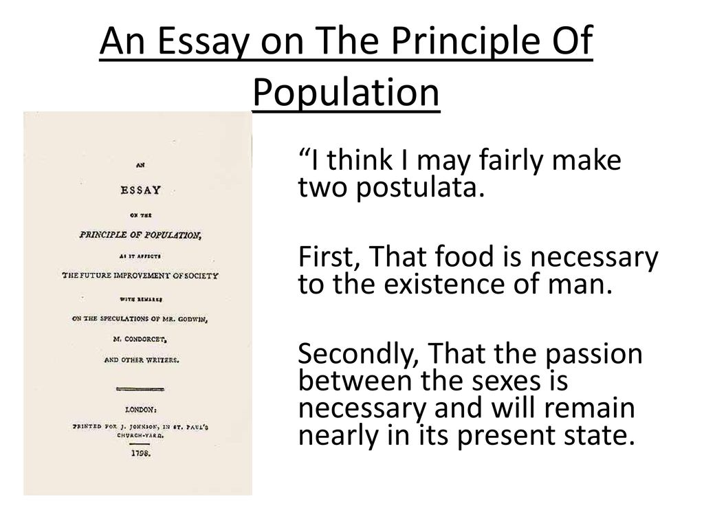 Analytical Essay Thesis Example An Essay On The Principle Of Population English Literature Essay also Examples Of Essays For High School Thomas Robert Malthus    Ppt Download Paper Essay
