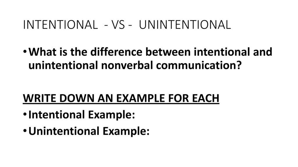 unintentional nonverbal communication